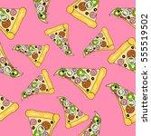 pattern of pizza. | Shutterstock .eps vector #555519502