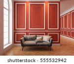 sofa in classic red interior.... | Shutterstock . vector #555532942