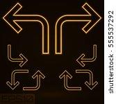 neon contour arrow set. vector... | Shutterstock .eps vector #555537292