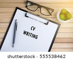 top view of clipboard and white ...   Shutterstock . vector #555538462