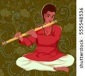 vector design of artist playing ... | Shutterstock .eps vector #555548536