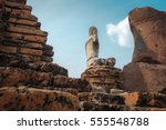 ancient buddha at wat... | Shutterstock . vector #555548788