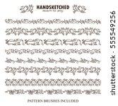 vector set of pattern brush or... | Shutterstock .eps vector #555549256