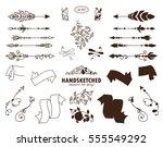 vector set of calligraphic... | Shutterstock .eps vector #555549292