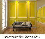 sofa in classic yellow interior.... | Shutterstock . vector #555554242