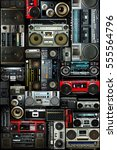 vintage wall full of radio... | Shutterstock . vector #555564796