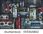 vintage wall full of radio... | Shutterstock . vector #555564802