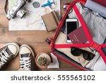 travel accessories costumes.... | Shutterstock . vector #555565102