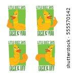 vector set of green emblems... | Shutterstock .eps vector #555570142