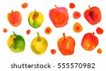 a collection of vibrant quirky... | Shutterstock . vector #555570982