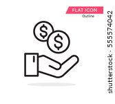 money on hand symbol vector... | Shutterstock .eps vector #555574042