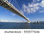 rainbow bridge the blue sea of  ... | Shutterstock . vector #555577636