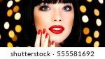 pretty woman against an... | Shutterstock . vector #555581692