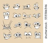 cartoon faces set vector... | Shutterstock .eps vector #555586546