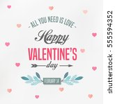 happy valentines day card  | Shutterstock .eps vector #555594352