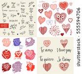 big vector set happy valentine... | Shutterstock .eps vector #555594706