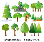 different types of trees... | Shutterstock .eps vector #555597976