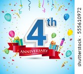 4th anniversary celebration... | Shutterstock .eps vector #555610972