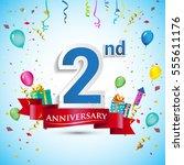 2nd years anniversary... | Shutterstock .eps vector #555611176