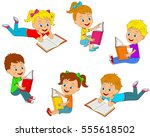 kids boys and girls  reading a... | Shutterstock .eps vector #555618502
