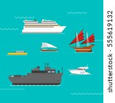 ship and boats vector. | Shutterstock .eps vector #555619132