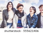 multi ethnic group of friends... | Shutterstock . vector #555621406