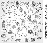 fruits and vegies doodled | Shutterstock .eps vector #555628456