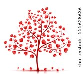 red hearts tree vector... | Shutterstock .eps vector #555628636