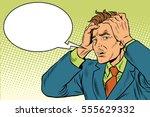 headaches men severe pain. pop... | Shutterstock .eps vector #555629332