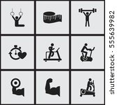 set of 9 editable active icons. ... | Shutterstock .eps vector #555639982