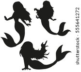 vector set of silhouettes... | Shutterstock .eps vector #555641272