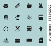 set of 16 editable school icons.... | Shutterstock . vector #555642022