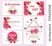 st. valentines day greetings... | Shutterstock .eps vector #555643348
