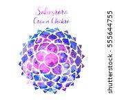 watercolor crown chakra... | Shutterstock .eps vector #555644755