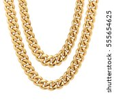 gold chain isolated on white... | Shutterstock . vector #555654625