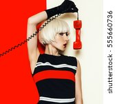 blonde model retro style with... | Shutterstock . vector #555660736