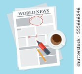 morning coffee and newspaper on ... | Shutterstock .eps vector #555666346