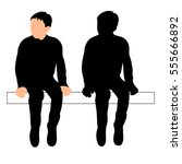 isolated  silhouette child boy ... | Shutterstock .eps vector #555666892