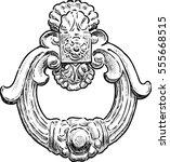 the ancient door handle in the... | Shutterstock .eps vector #555668515