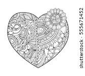 zentangle vector heart shape... | Shutterstock .eps vector #555671452
