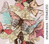 butterfly pattern in engraved... | Shutterstock .eps vector #555681352