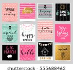 happy spring illustration | Shutterstock .eps vector #555688462