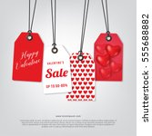 price tag happy valentine   s... | Shutterstock .eps vector #555688882