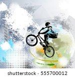 bmx trick  vector | Shutterstock .eps vector #555700012