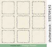 vector set of vintage frames on ... | Shutterstock .eps vector #555709192