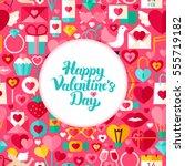 valentine day greeting. flat... | Shutterstock .eps vector #555719182
