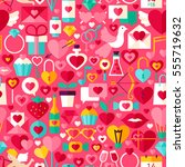 valentines day pink seamless... | Shutterstock .eps vector #555719632