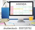 calendar agenda event meeting... | Shutterstock . vector #555725752