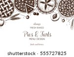 vector card design with ink... | Shutterstock .eps vector #555727825