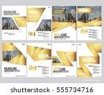 golden collection set cover... | Shutterstock .eps vector #555734716